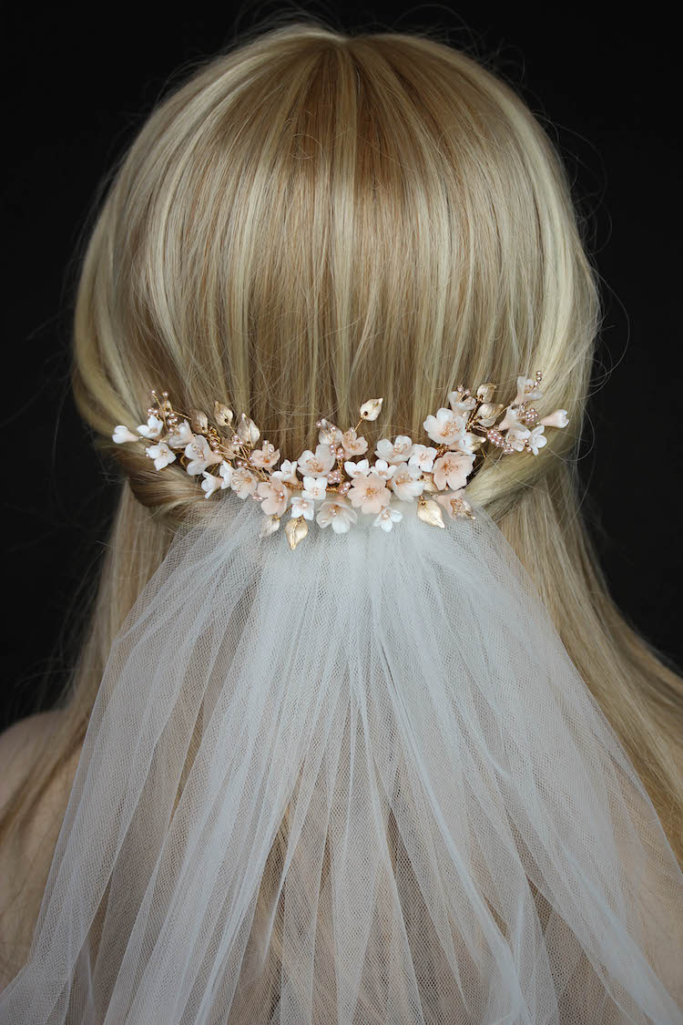 Blush Blossoms | A floral wedding headpiece for Tristan