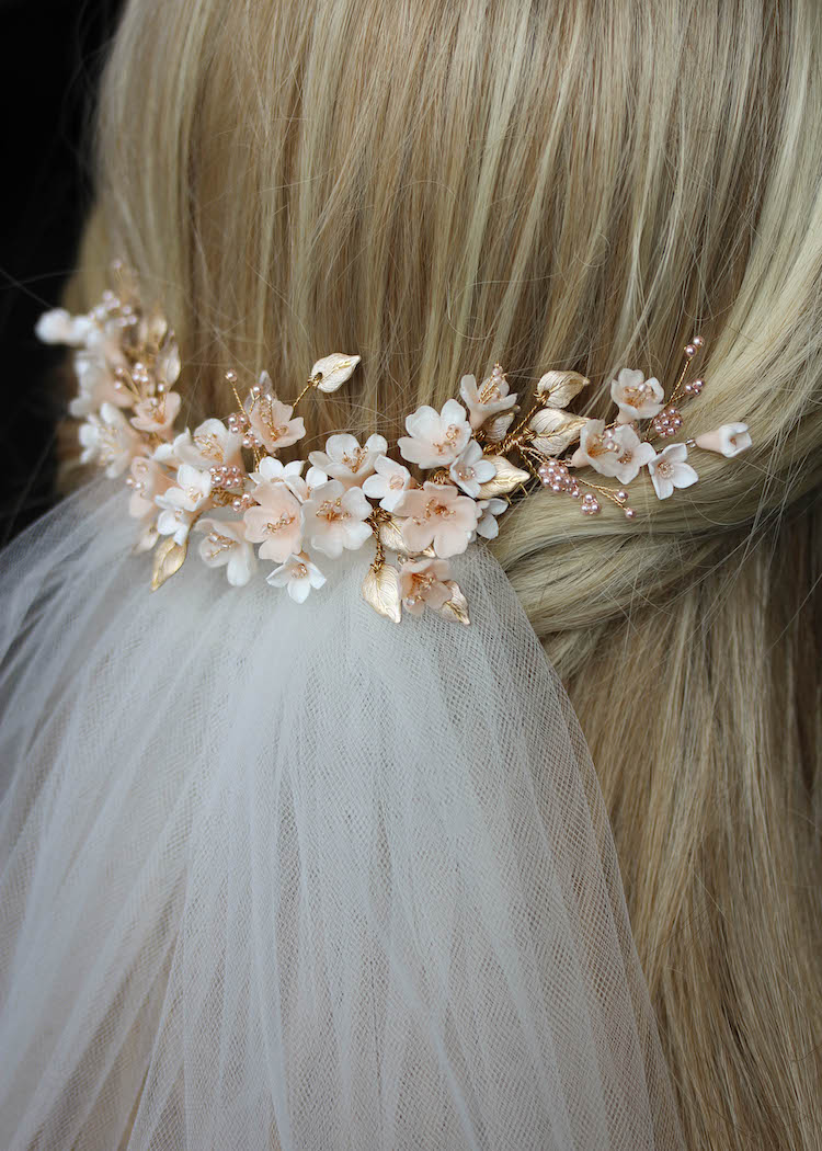 BESPOKE for Tristan_Cherry Blossom floral wedding headpiece and hair pin set 4