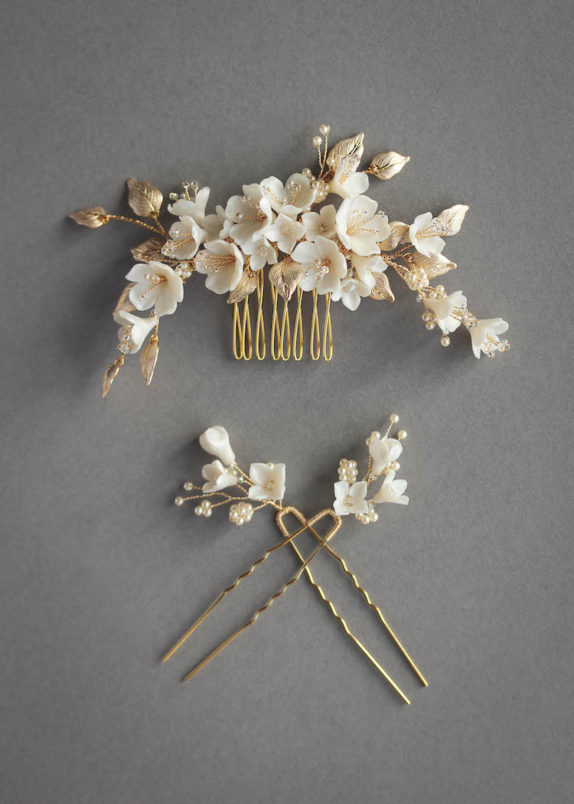 CHERRY BLOSSOM in pale gold and ivory 1