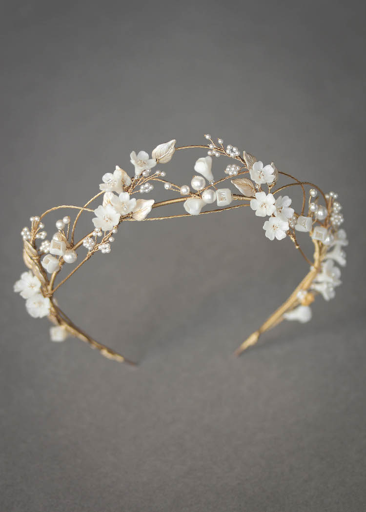 An airy and romantic floral bridal crown for bride Megan