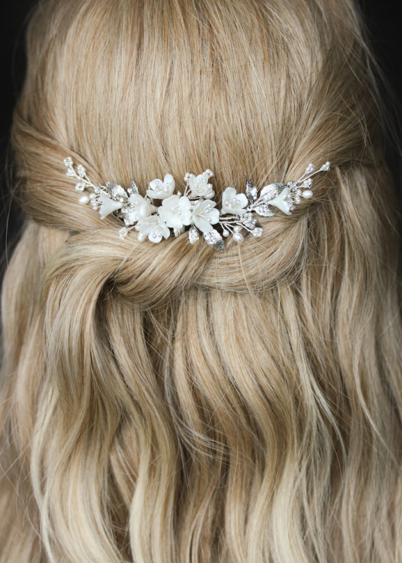 RACHEL_Antique silver and ivory bridal headpiece 10