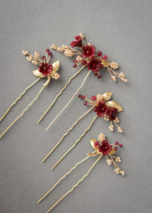 Regal red and gold floral hair pins for Ella 4